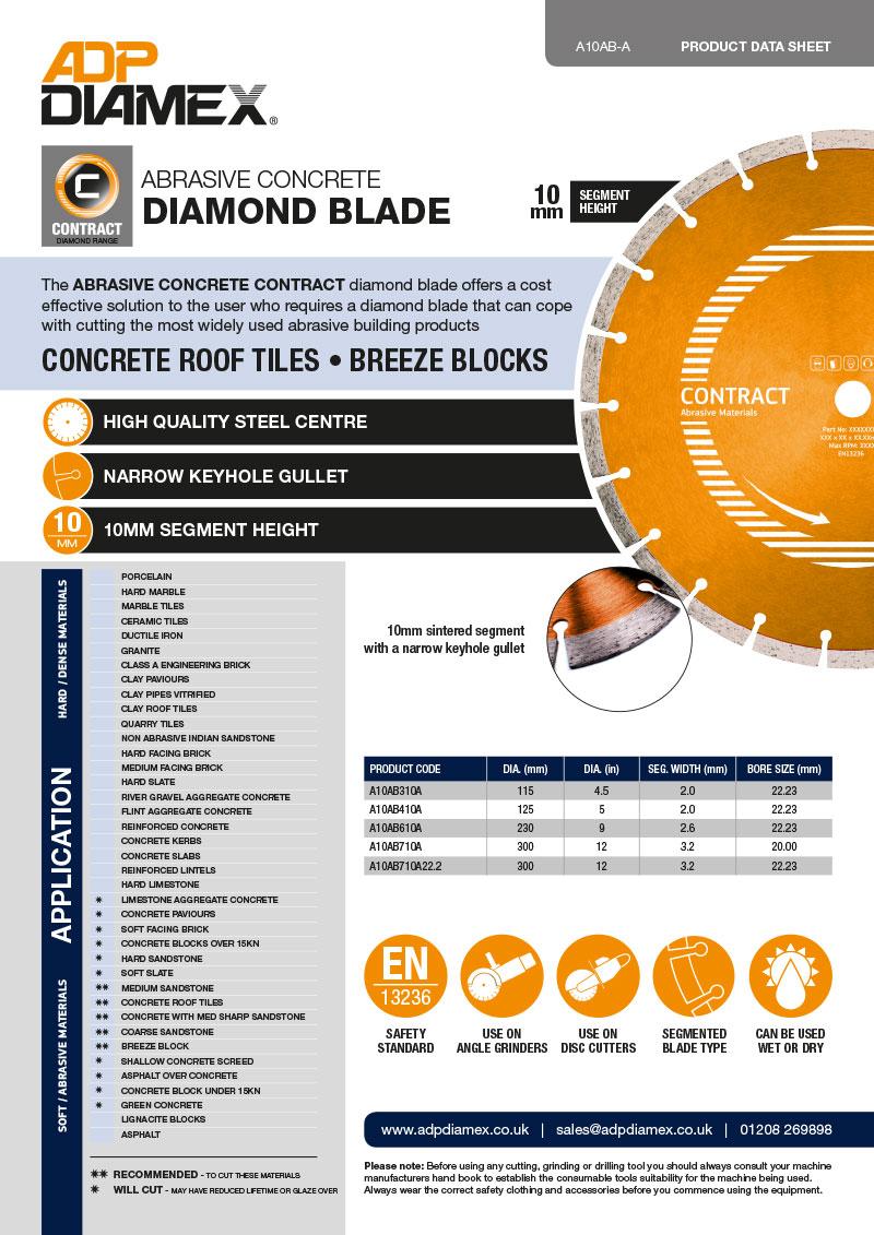 Abrasive Concrete Contract Data Sheet