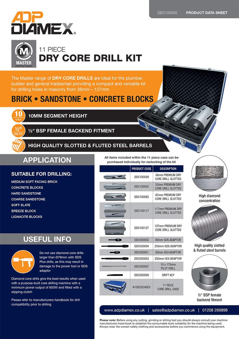 Master Plus 11pc Dry Core Drill Kit Data Sheet