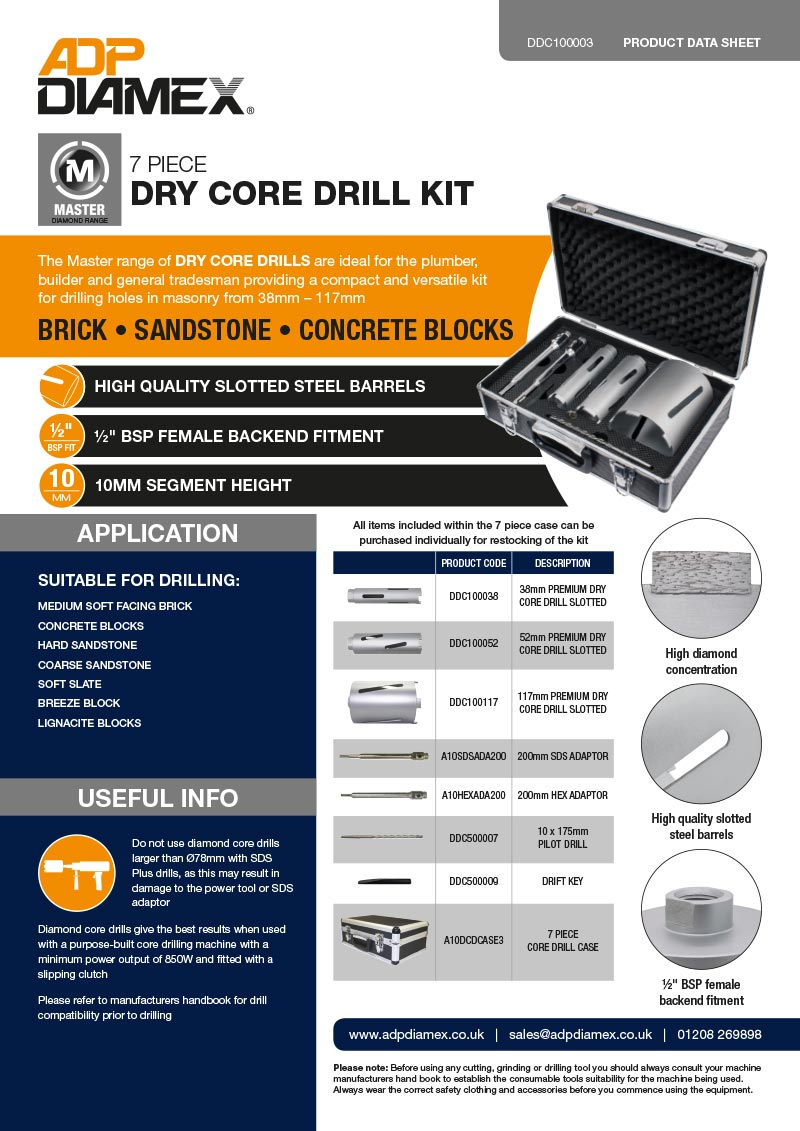 Master Plus 7pc Dry Core Drill Kit Data Sheet