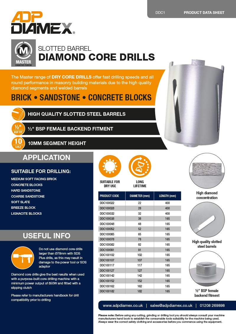Master Plus Core Drill Slotted Data Sheet