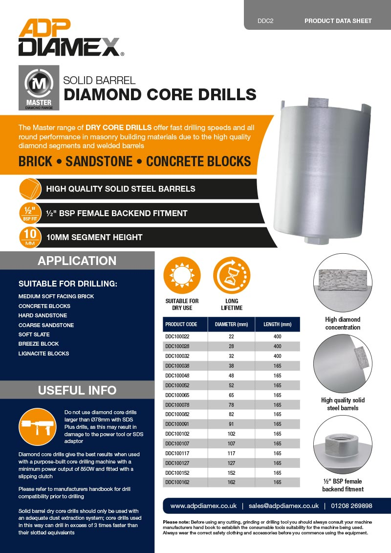 Master Plus Core Drill Solid Data Sheet