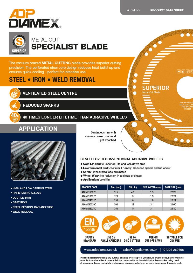 Metal Cut Data Sheet
