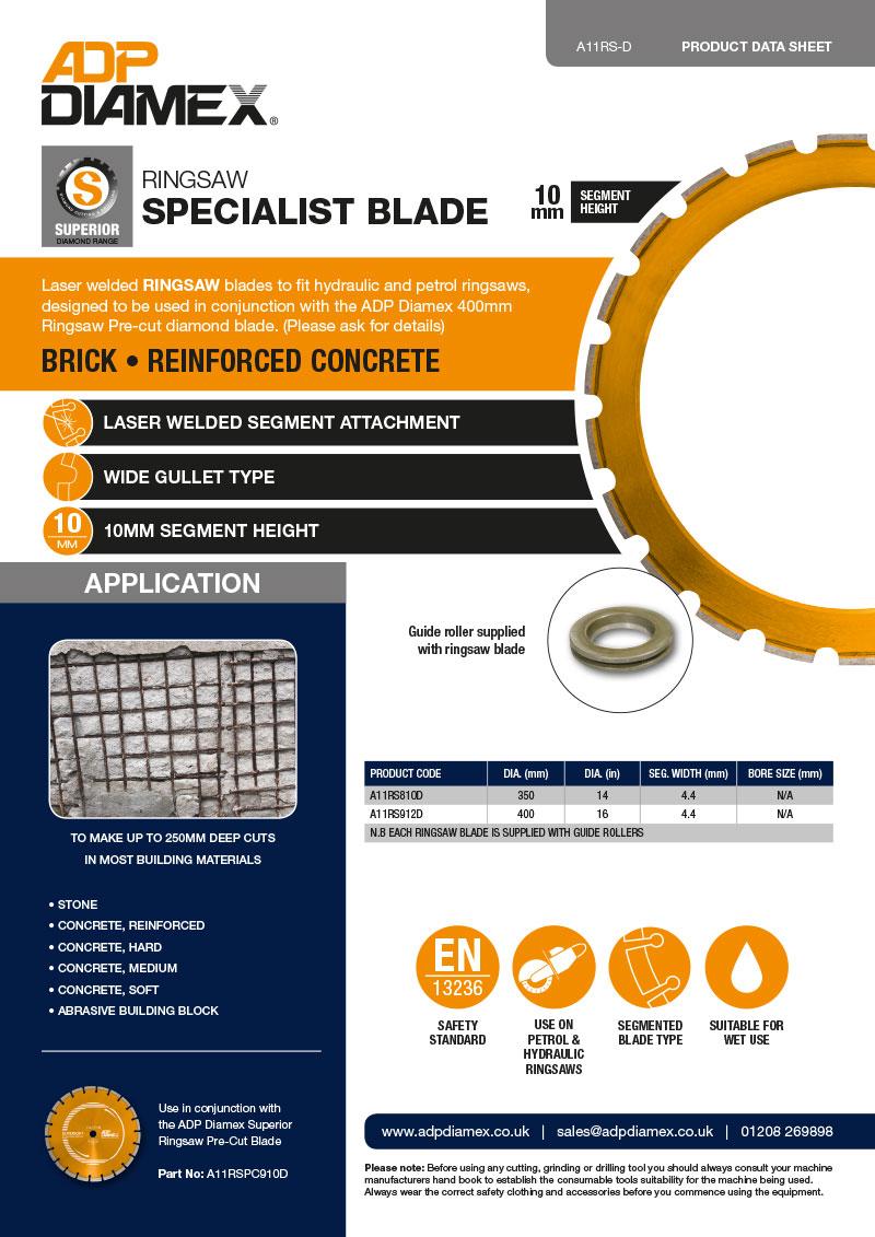 Ringsaw Blade Data Sheet