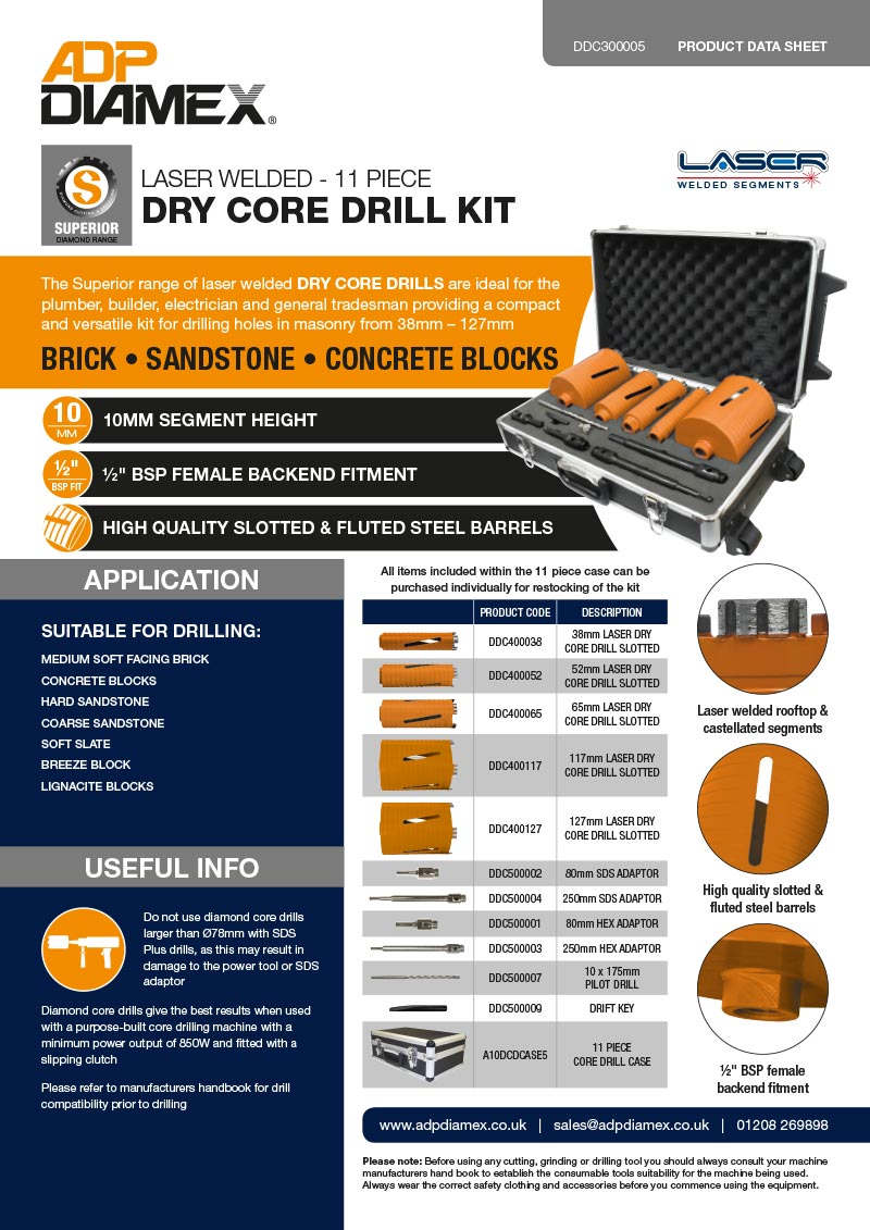 Superior Plus 11pc Dry Core Drill Kit Data Sheet