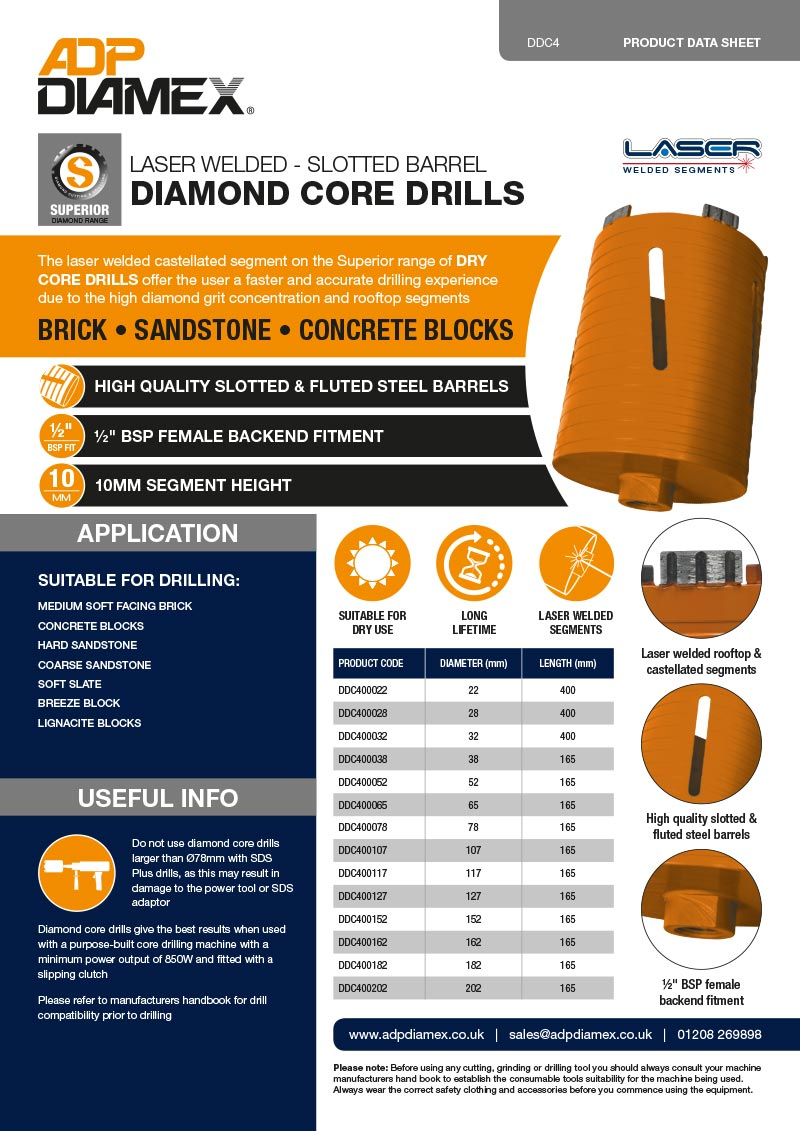 Superior Plus Core Drill Slotted Data Sheet