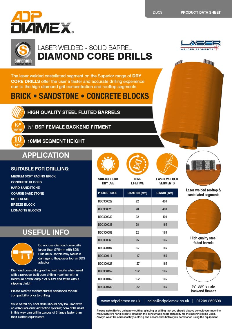 Superior Plus Core Drill Solid Data Sheet