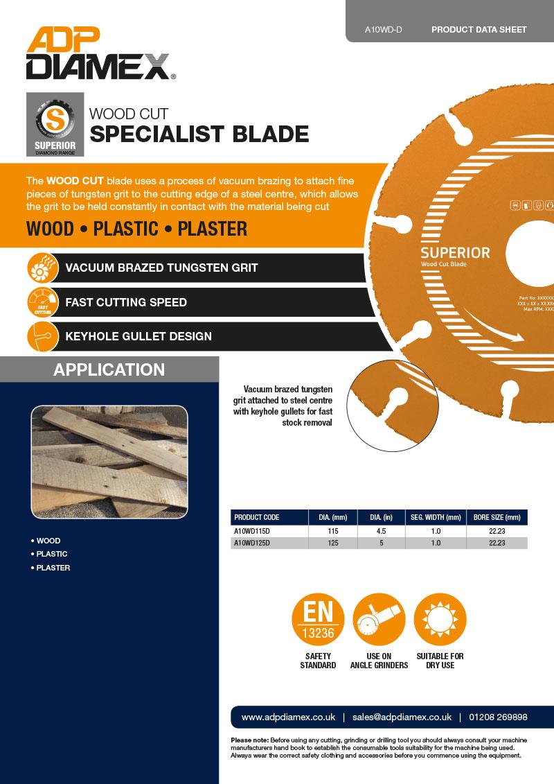 Wood Cut Data Sheet