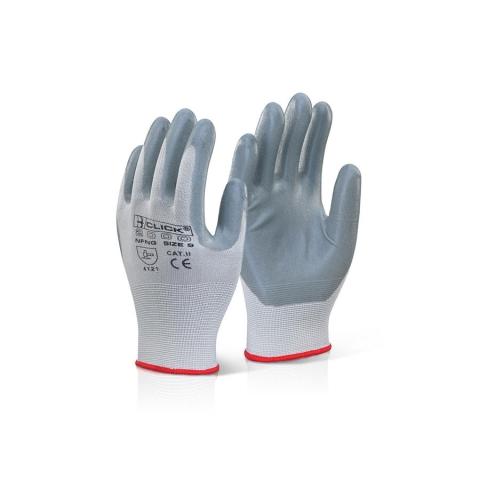 Nitrile Foam Nylon Work Gloves Grey