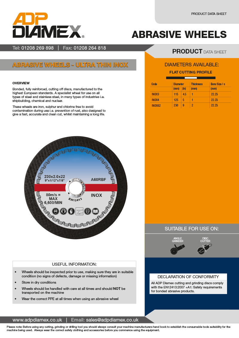 Inox Abrasive Wheel Data Sheet