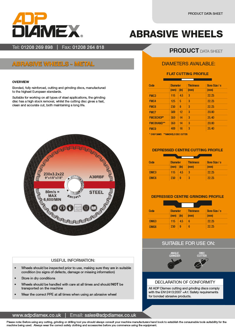 Metal Abrasive Wheel Data Sheet