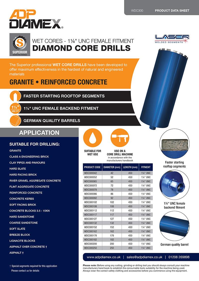 Wet Core Drill 1 1/4 UNC Female Fitment Data Sheet