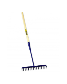 16 Teeth Round Tarmac Rake Wooden Shaft