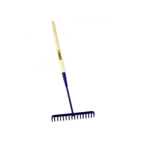 16 Teeth Round Tarmac Rake Wooden Shaft