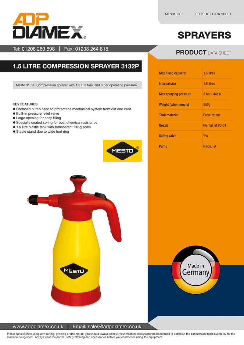 1.5 Litre Compression Sprayer 3132P Data Sheet