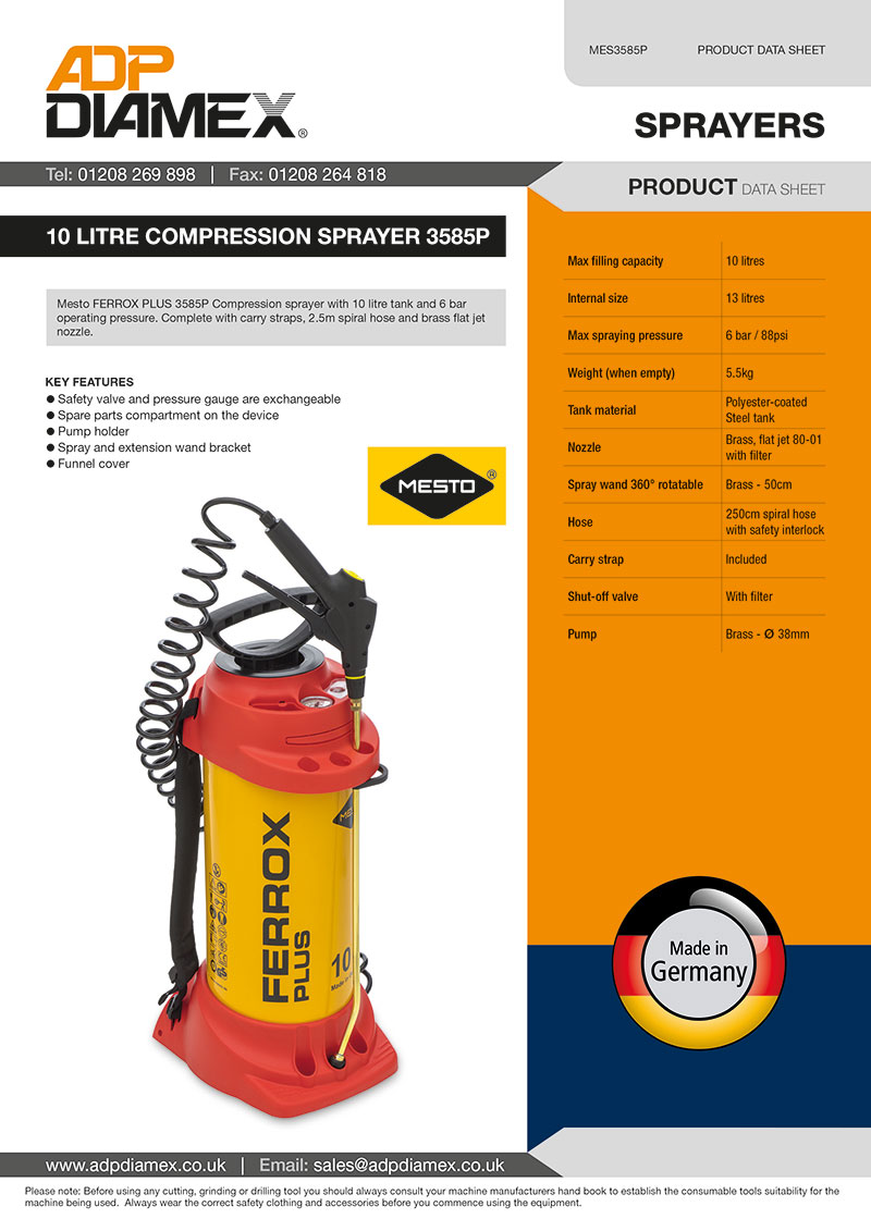 10 Litre Compression Sprayer 3585P Data Sheet