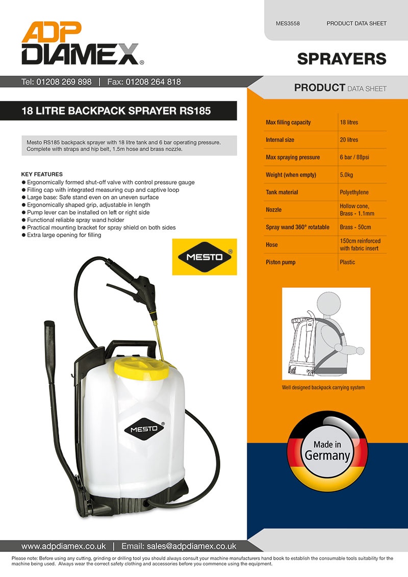 Backpack Sprayer RS185 Data Sheet