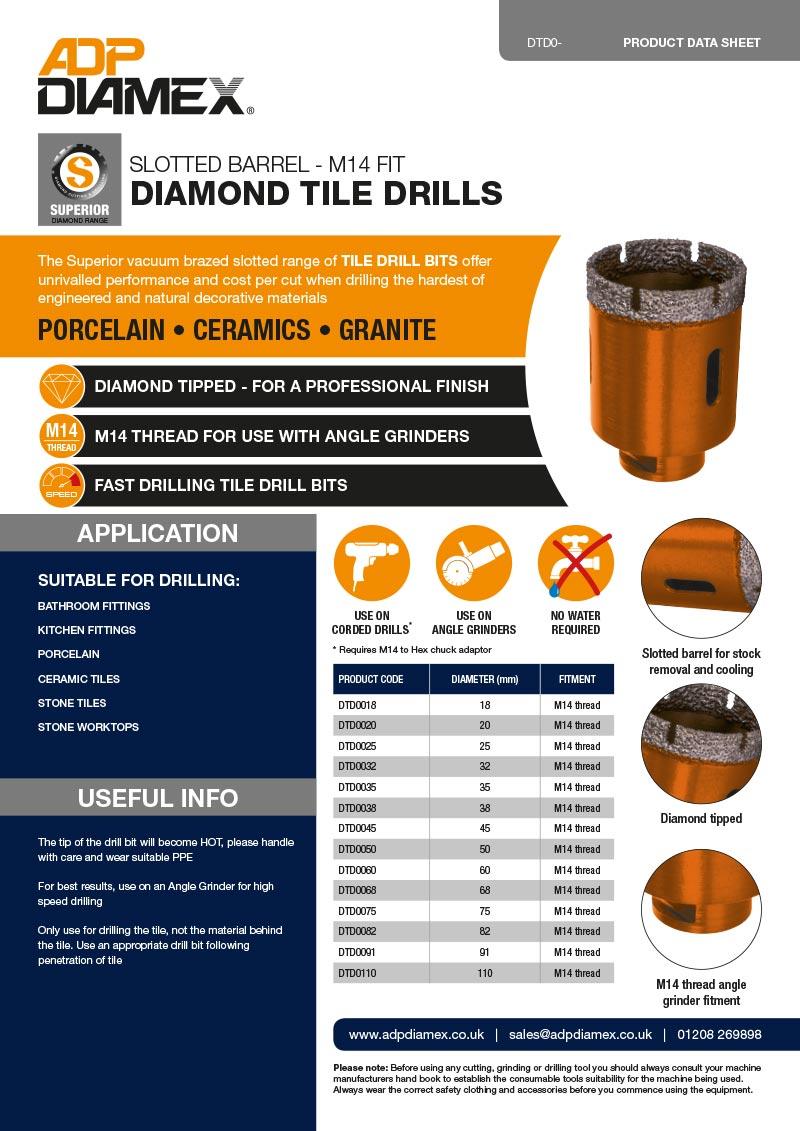 Slotted Barrel Tile Drill Data Sheet