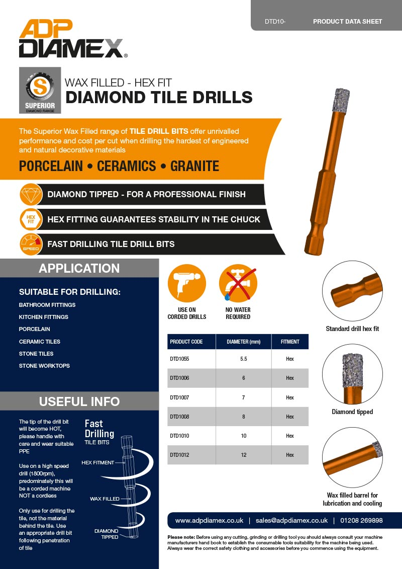 Wax Filled Diamond Tile Drill Data Sheet