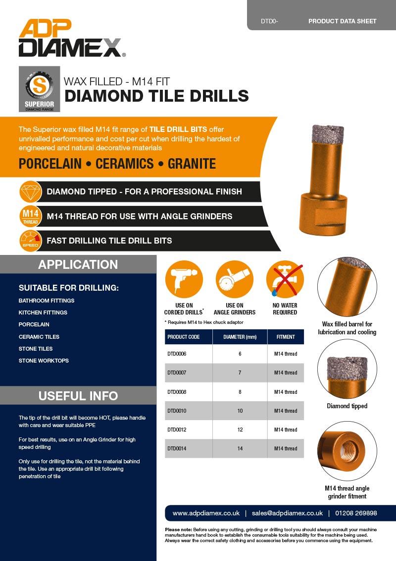 Wax Filled (M14 fit) Diamond Tile Drill Data Sheet