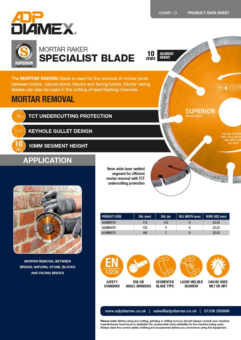 Mortar Raker Data Sheet