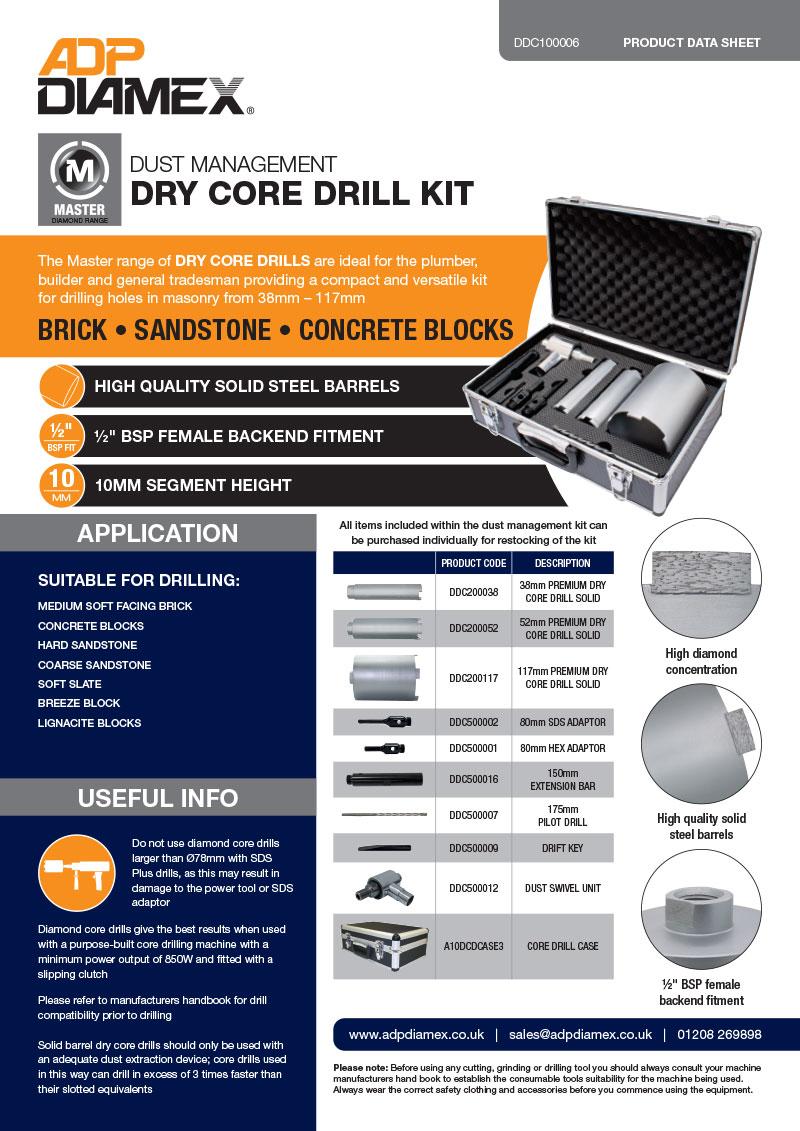 Dust Management Dry Core Drill Kit Data Sheet