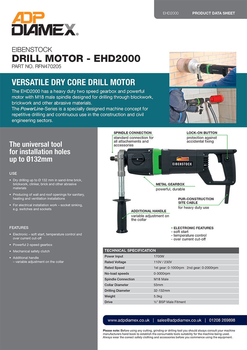 Eibenstock EHD2000 Core Drill Motor Data Sheet