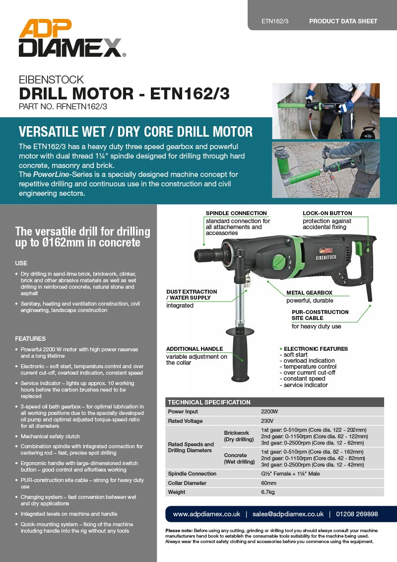 Eibenstock ETN162-3 Core Drill Motor Data Sheet